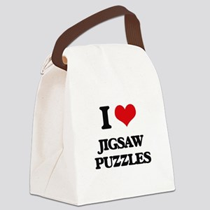 I Love Jigsaw Puzzles Canvas Lunch Bag