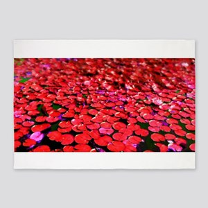 Red Lilly-pad 5'x7'Area Rug