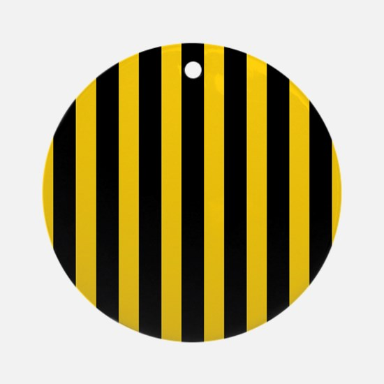 Black And Yellow Stripes Ornament (Round)