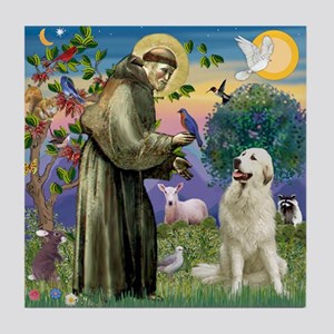 St. Francis & Great Pyrenees Tile
