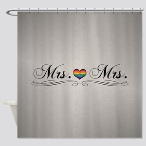 Mrs. & Mrs. Lesbian Design Shower Curtain