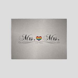 Mrs. & Mrs. Lesbian Design 5'x7'Area Rug