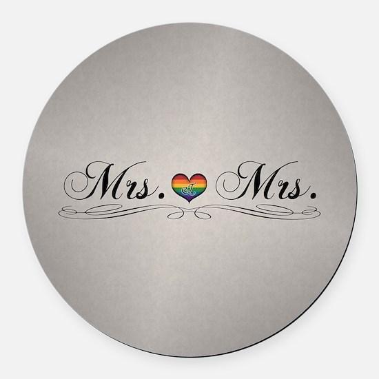 Mrs. & Mrs. Lesbian Design Round Car Magnet