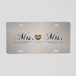 Mrs. & Mrs. Lesbian Design Aluminum License Plate
