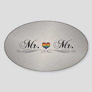 Mr. & Mr. Gay Design Sticker (Oval)