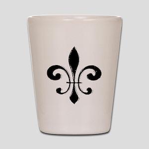 Black Fleur De Lis Shot Glass