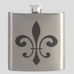Black Fleur De Lis Flask