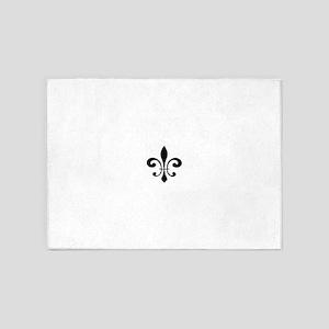 Black Fleur De Lis 5'x7'Area Rug