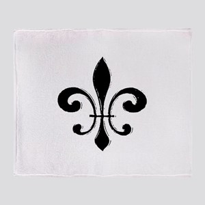 Black Fleur De Lis Throw Blanket