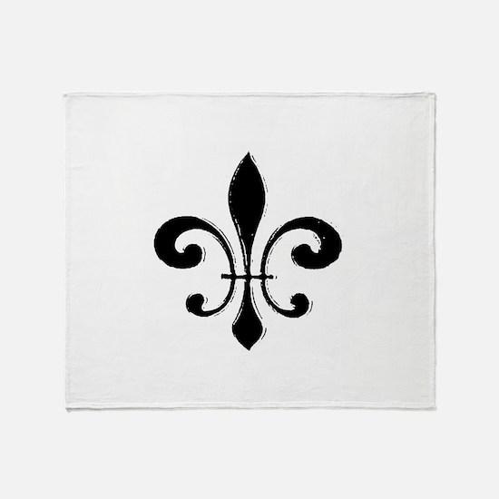 Black Fleur De Lis Throw Blanket