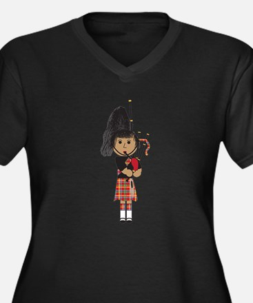 Bagpiper Women's Plus Size V-Neck Dark T-Shirt