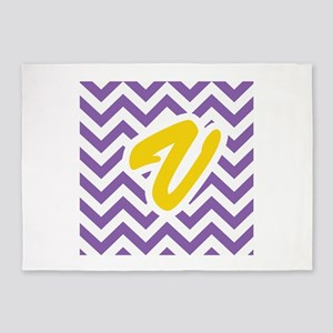 Purple Chevron - Gold U 5'x7'Area Rug