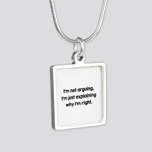 I'm Not Arguing Silver Square Necklace