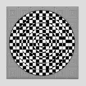 Op Art Squared Circle Tile Coaster