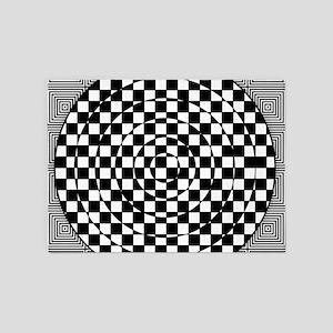 Op Art Squared Circle 5'x7'Area Rug