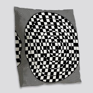Op Art Squared Circle Burlap Throw Pillow