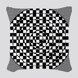 Op Art Squared Circle Woven Throw Pillow