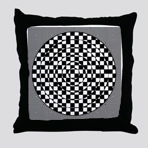 Op Art Squared Circle Throw Pillow