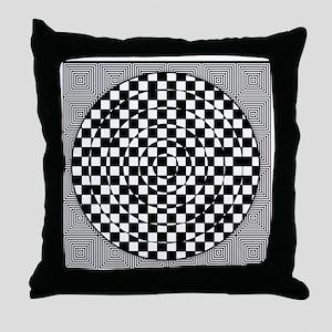 Op Art Squared Circle Throw Pillow