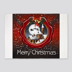 Merry Christmas Olden Days 5'x7'Area Rug