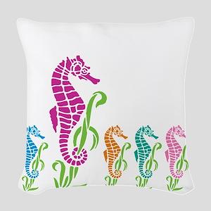 Seahorse Parade Woven Throw Pillow
