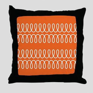 Orange Spiral Pattern Throw Pillow