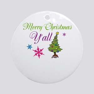 Merry Christmas Yall Ornament (Round)