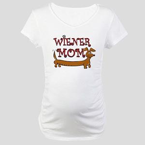 Cute Wiener Mom Cartoon Maternity T-Shirt