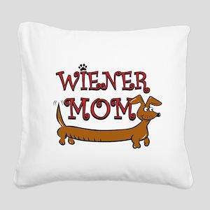 Cute Wiener Mom Cartoon Square Canvas Pillow