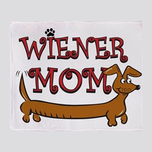 Cute Wiener Mom Cartoon Throw Blanket