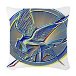 Silver Mockingjay Woven Throw Pillow