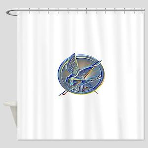 Silver Mockingjay Shower Curtain