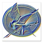Silver Mockingjay Square Car Magnet 3