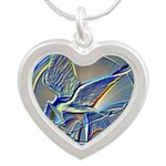 Silver Mockingjay Silver Heart Necklace