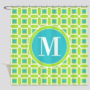 Green and Blue Mosaic Pattern Monog Shower Curtain
