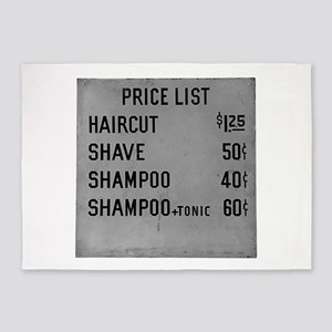 barber shop price list 5'x7'Area Rug