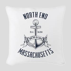 North End, Boston MA Woven Throw Pillow