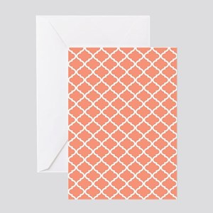 Coral White Quatrefoil Pattern Greeting Card