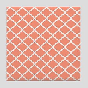 Coral White Quatrefoil Pattern Tile Coaster