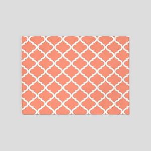 Coral White Quatrefoil Pattern 5'x7'Area Rug