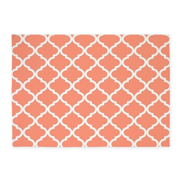 Coral White Quatrefoil Pattern 5 X7 Area Rug By