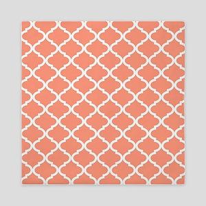 Coral White Quatrefoil Pattern Queen Duvet