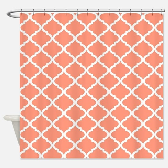 Coral White Quatrefoil Pattern Shower Curtain