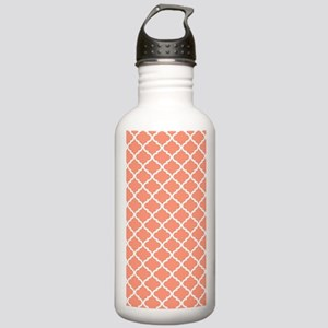 Coral White Quatrefoil Stainless Water Bottle 1.0L