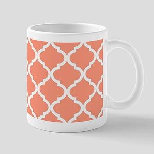 Coral White Quatrefoil Pattern Mug