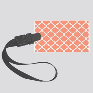 Coral White Quatrefoil Pattern Large Luggage Tag