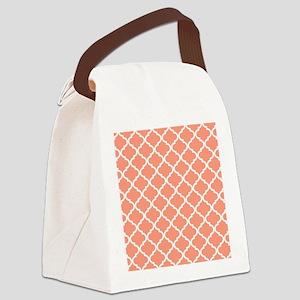 Coral White Quatrefoil Pattern Canvas Lunch Bag