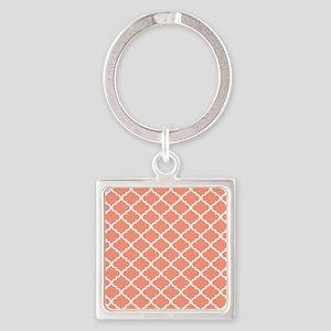 Coral White Quatrefoil Pattern Square Keychain