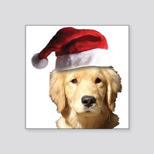 "Christmas Golden Retriever Square Sticker 3"" x 3"""
