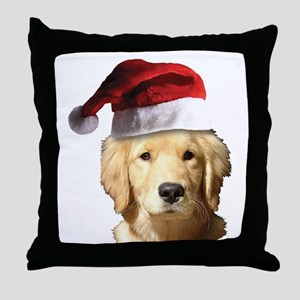 Christmas Golden Retriever Santa Clau Throw Pillow